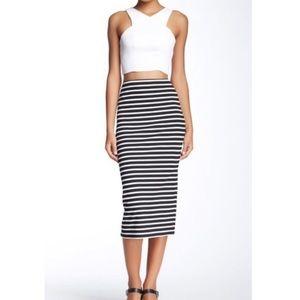 Sanctuary high waist striped midi pencil skirt